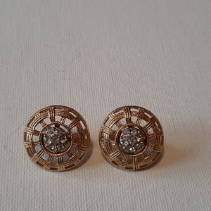 Gold tone vintage button earrings
